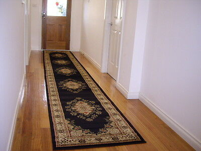 Traditional Hall Runner Rug Premium Quality Black 500cm Long FREE DELIVERY