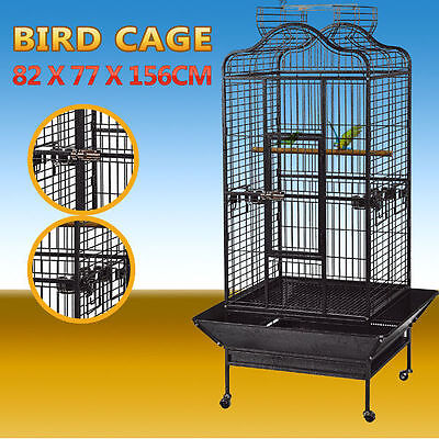 Large Black Stand-Alone Pet Bird Cage Parrot Budgie Canary Aviary Caster Wheels