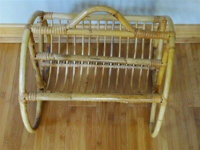 Vintage Franco Albini Style  Rattan Bamboo Magazine Stand Rack * AS IS