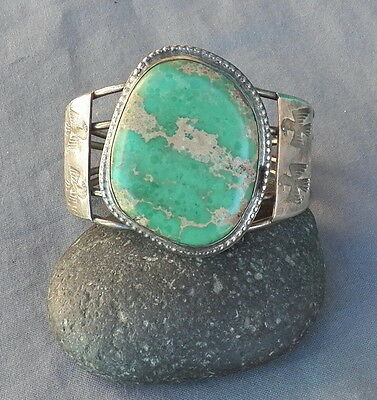 Old Vintage Native American Silver Green Turquoise Thunderbirds Cuff Bracelet