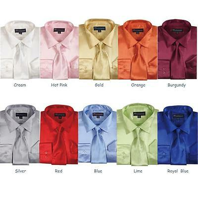 Men's Shiny Silky Satin Solid Dress Shirt w/ Tie and Hanky Set 08