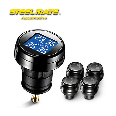 TMPS LEDs Tyre Tire Pressure Wireless Monitor System DIY+4 Sensors for Car Truck