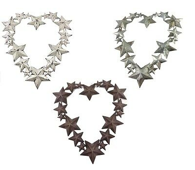 Heart Shaped Wreath / Hanging Decoration with Tin Stars Tin / Rust / White Wash
