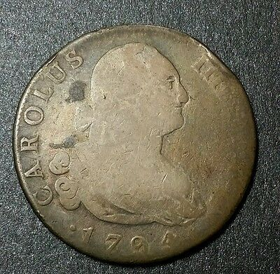 1794☆ SPAIN ☆4 Reales King Charles IIII Madrid Mexico Mint Colonial Silver Coin
