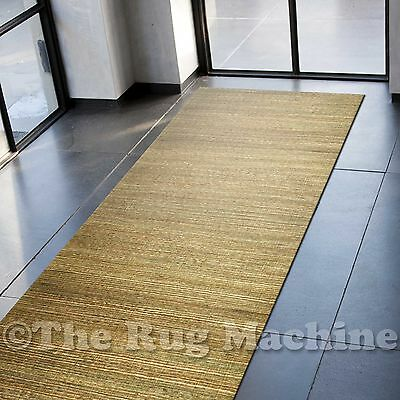 CAMDEN GREEN NATURAL JUTE COTTON FLATWEAVE MODERN FLOOR RUG RUNNER 70x300cm *NEW