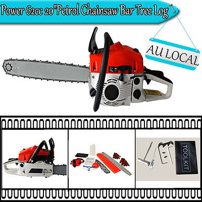 "Power 62cc 20"" Petrol Chainsaw Bar Tree Log Pruning Pruner Garden Chain Saw DI"