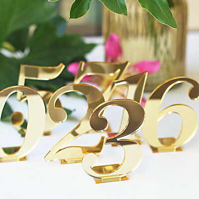 Acrylic Table Numbers for Weddings Standing Numbers  mirror Gold Table  number