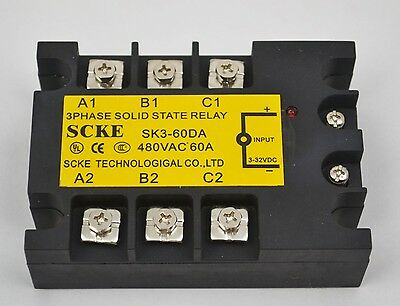 NEW TOP QUALITY Three Phase 3Phase DC AC Solid State Relay SSR-60A 60A