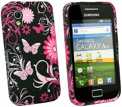 TPU Gel Case + Car Charger + more for Samsung Galaxy Ace S5830 - Pink Garden