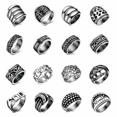 New Fashion Mens Silver Titanium Stainless Steel Wedding Band Ring Punk Jewelry