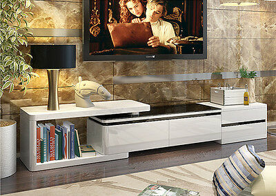 Black&White High Gloss TV Stand Adjustable Length  With 3 Drawers Living Room