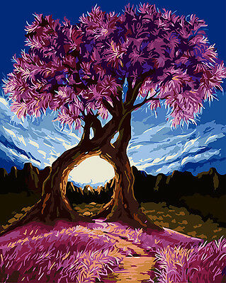 """DIY 16X20"""" Paint By Number Kit Acrylic Oil Painting On Canvas Purple Tree 369"""
