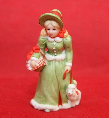 LEFTON Colonial Village Girl Walking Dog Collection Christmas