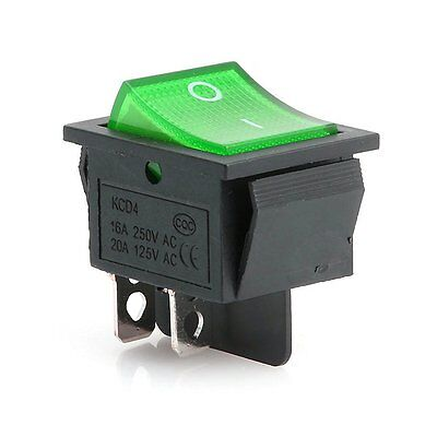 5Pcs NEW Green Lamp 4 Pin ON/OFF 2 Position DPST Rocker Switch 16A/250V KCD4-201