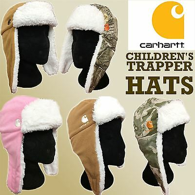 Carhartt Infant / Toddler Fleece Fur Lined Chin Strap Trapper Hats