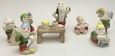 Vintage Fitz & Floyd Santa's Workshop 8 Pc. Set Elves Christmas Figurines Rare