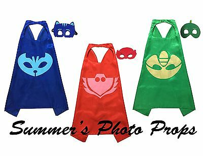 PJ mask and Cape and Mask Party Favors Superhero Capes Superhero masks-SOLID