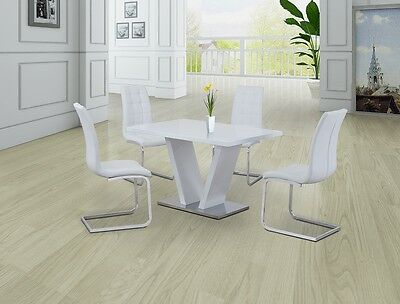 WHITE AND CHROME HIGH GLOSS DINING SET WITH 4 x WHITE CHAIRS, WHITE GLOSS DINING
