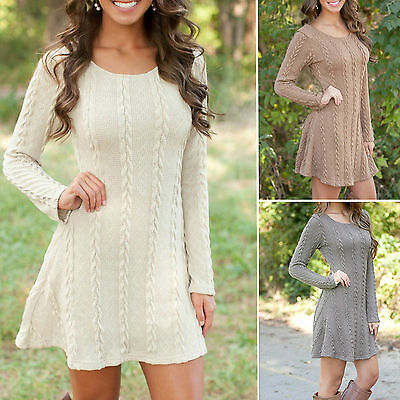 Autumn Womens Long Sleeve Knitted Sweater Pullover Swing Skater Dress Jumper Top