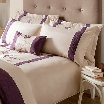 Rich Floral Luxury Boudior Filled Cushion 30x50cm Natural or Plum