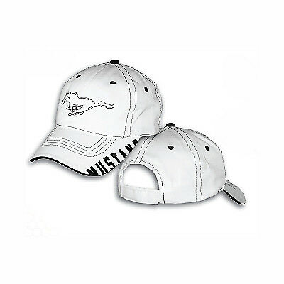 Ford Mustang White & Black Cotton Cap Hat with Running Horse & MUSTANG Logos