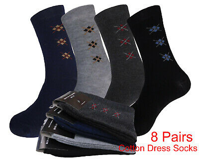 6 Pair Men Women Argyle Dress Socks Pattern Cotton Dress Socks Size 10-13