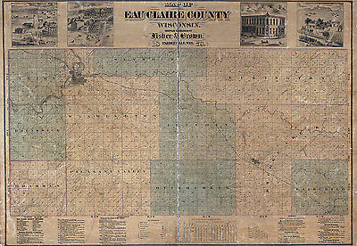1878 Map of Eau Claire County Wisconsin