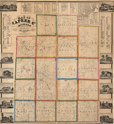1863 Farm Line Map of Lapeer County Michigan