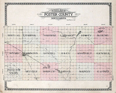 1910 Map of Foster County North Dakota