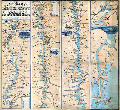 1863 Map of the Mississippi River and Valley