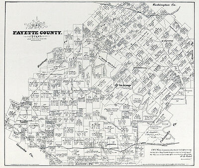 1879 Farm Line Map of Fayette County Texas