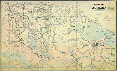 1863 Military Map of Louisiana and New Orleans