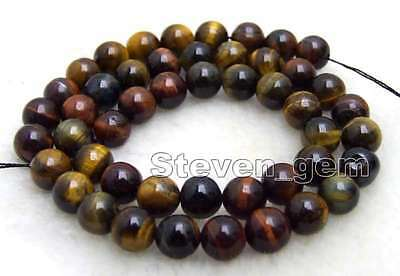"""SALE 8mm Round Multicolor natural tiger's-eye gemstone Beads strand-15"""" - los698"""