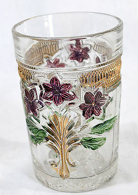 """EAPG Indiana Glass Narcissus Spray Tumbler #162 Original Colors  4.25"""""""