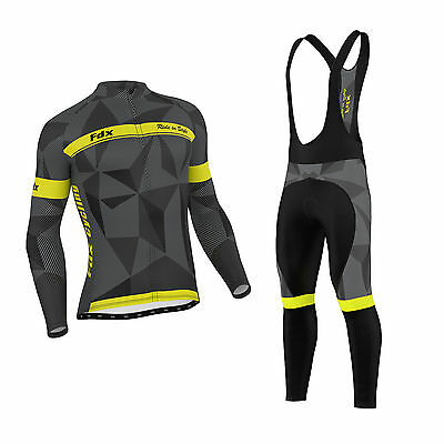 FDX Mens Classic Cycling Jersey Winter Thermal Bike Top + Cycling Bib tights set
