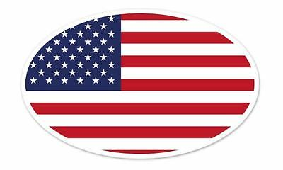 "USA Flag Oval car window bumper sticker decal 5"" x 3"""