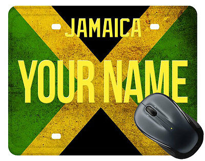 Personalized custom Name License Jamaica Plate Mouse Pad