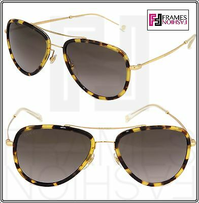 99c52a23c3 GUCCI Aviator GG2245NS Brown Havana Gold Gradient Sunglasses Steel Unisex  2245