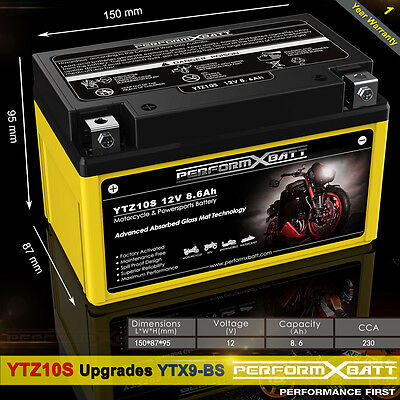 AGM Battery YTZ10S 12V 9Ah ATV Polaris Outlaw 525 450 S MXR Predator 500 YTX9-BS