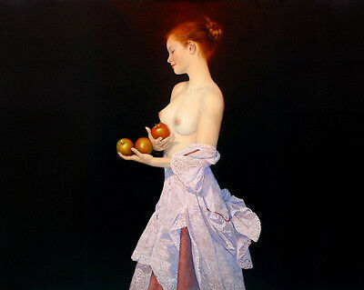 Home Decor ,Art Quality Canvas Print, Oil Painting The Girl with Apples 16x20