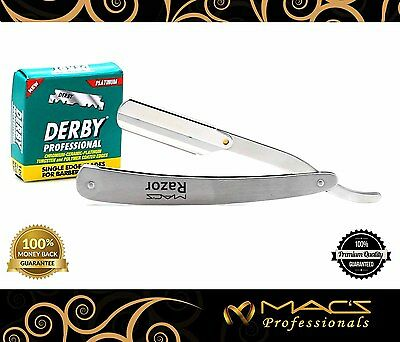 STAINLESS STEEL BARBER RAZOR  With Hi-Chromium Derby 100 blades Box W/Free Pouch