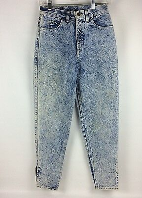 Vtg 80s Acid Wash Mom Jeans Size 9 Juniors High Waisted Zip Ankle Made In USA