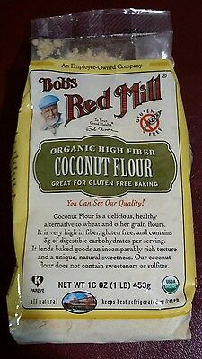 Bob's Red Mill Organic Coconut Flour 16-Oz. Ea. (2 Packs Sealed) NEW Gluten Free