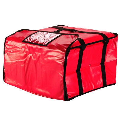 """20"""" x 20"""" x 12"""" Vinyl Insulated Pizza Delivery Bag - Red"""