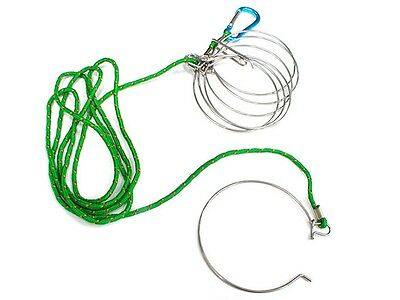 U R Scuba Divers Stainless Steel Fishing Stringer Fish Lock 7Snap Climbing Ropes