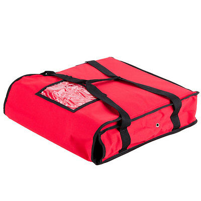 """18"""" x 18"""" x 5"""" Red Nylon Insulated Pizza Delivery Bag - Red"""