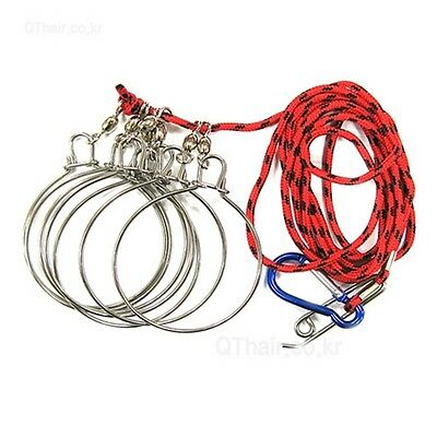 C R Scuba Divers Stainless Steel Fishing Stringer Fish Lock 7Snap Climbing Ropes