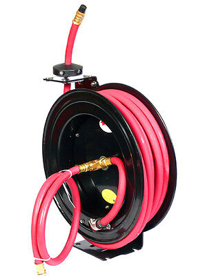 1/2'' x 25 FT FEET RETACTABLE RUBBER AIR HOSE REEL 300 PSI FREE SHIPPING