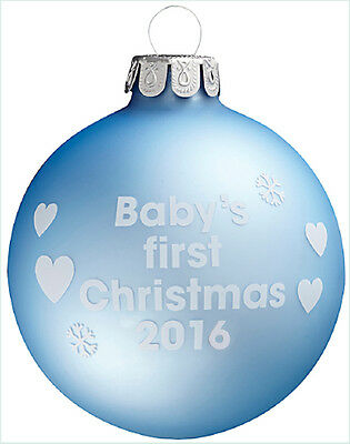 Baby's First Christmas 2016 - Blue Christmas Tree Bauble - 1st Xmas Gift