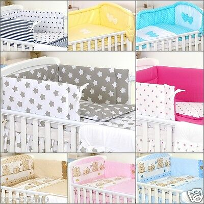 3 Pieces Set Baby CotBed Bedding Cot Set Bumper Duvet Cover, Pillowcase
